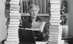 Author Agatha Christie at her desk.