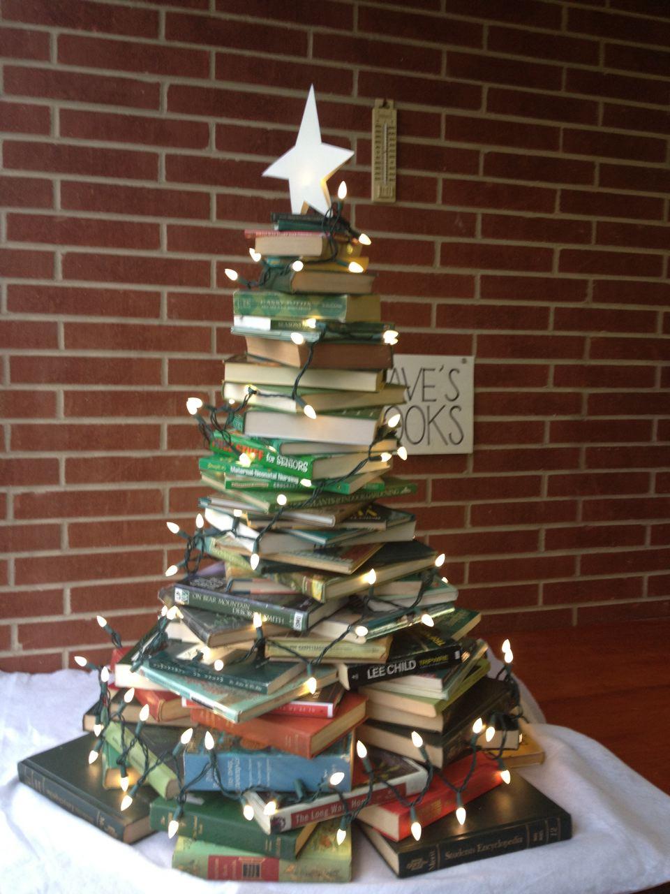 img_4391 we have a humble christmas tree made of books - Christmas Tree Book
